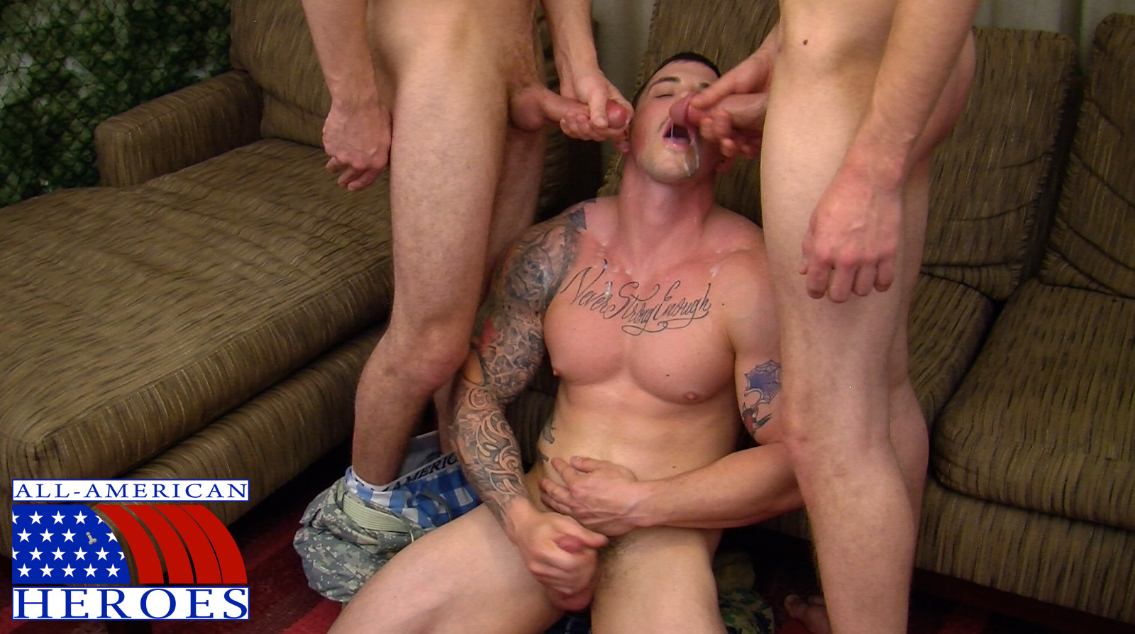 All-American-Heroes-Sergeant-Slate-Triple-fucking-big-cocks-Army-guys-Amateur-Gay-Porn-14 Two Real Army Privates Fuck Their Muscle Sergeant and Cum In His Mouth
