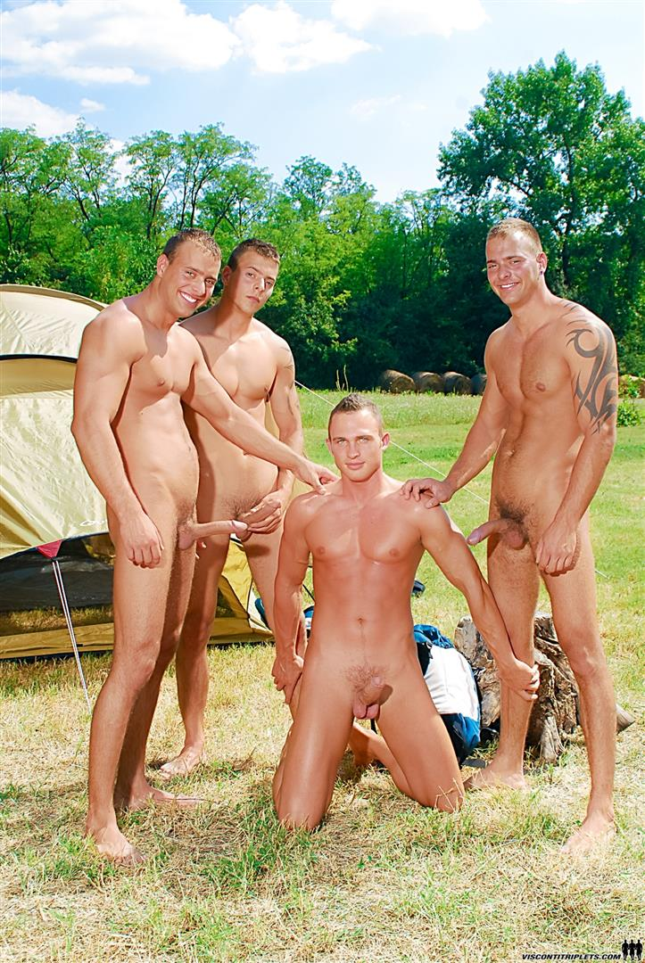 Visconti-Triplets-Jason-Visconti-Jimmy-Visconti-Joey-Visconti-Giuseppe-Pardi-Fucking-During-A-Camping-Trip-Amateur-Gay-Porn-03 Visconti Triplets Tag Team Some Muscle Ass While Camping