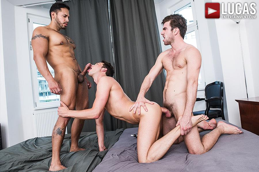 Lucas Entertainment Zander Craze and Damon Heart and Viktor Rom Big Uncut Cock Bareback Threesome Amateur Gay Porn 08 Two Big Uncut Cock Tops Sharing A Bottoms Hungry Hole