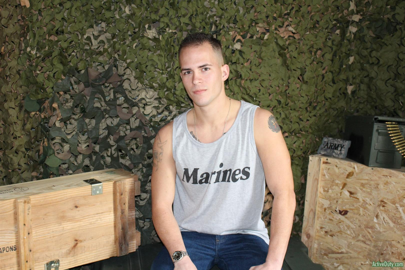 Active-Duty-Richard-Buldger-Naked-Marine-Jerking-Off-Big-Dick-03 Naked Marine Jerks Off And Shoots A Load of Cum
