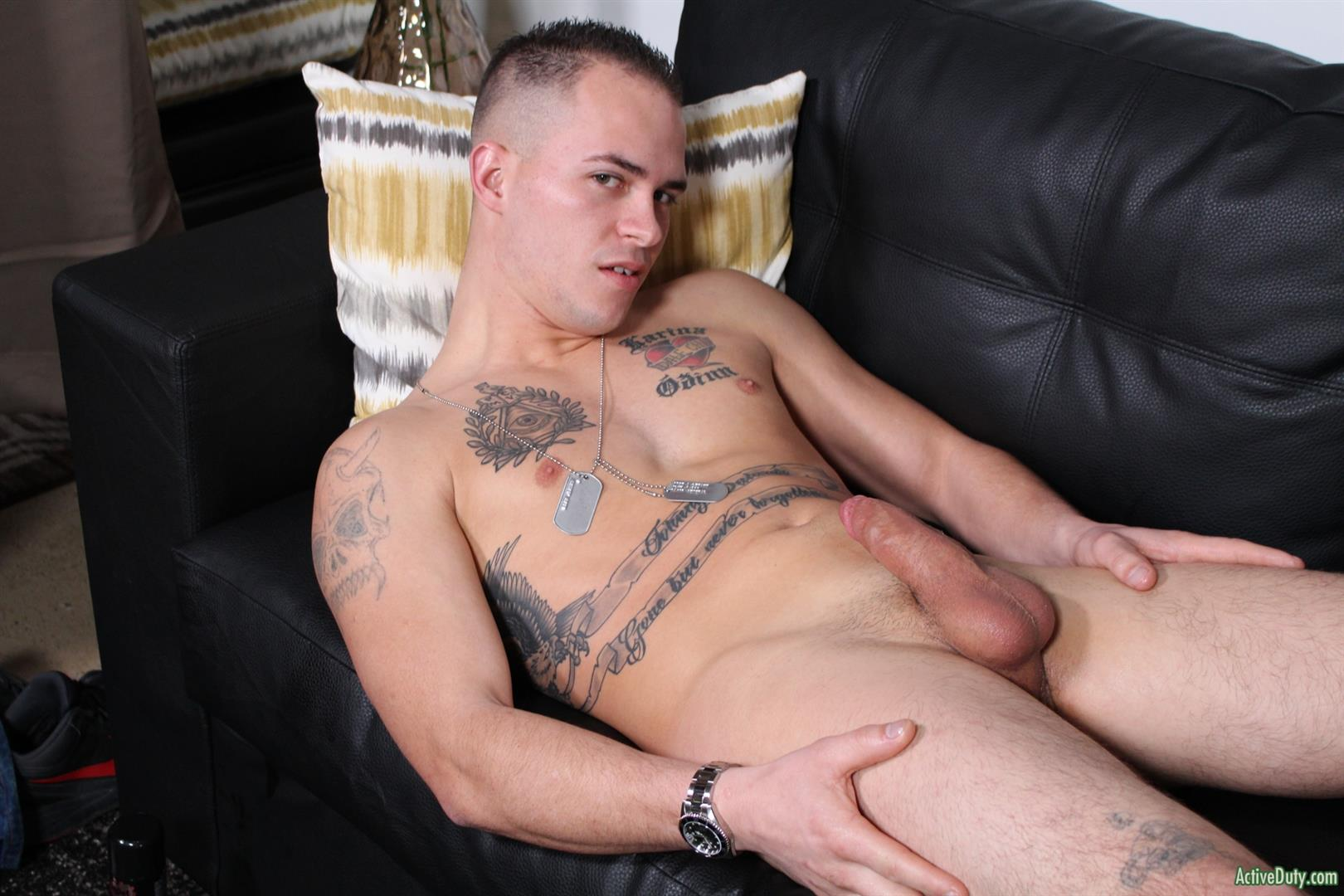Active-Duty-Richard-Buldger-Naked-Marine-Jerking-Off-Big-Dick-11 Naked Marine Jerks Off And Shoots A Load of Cum