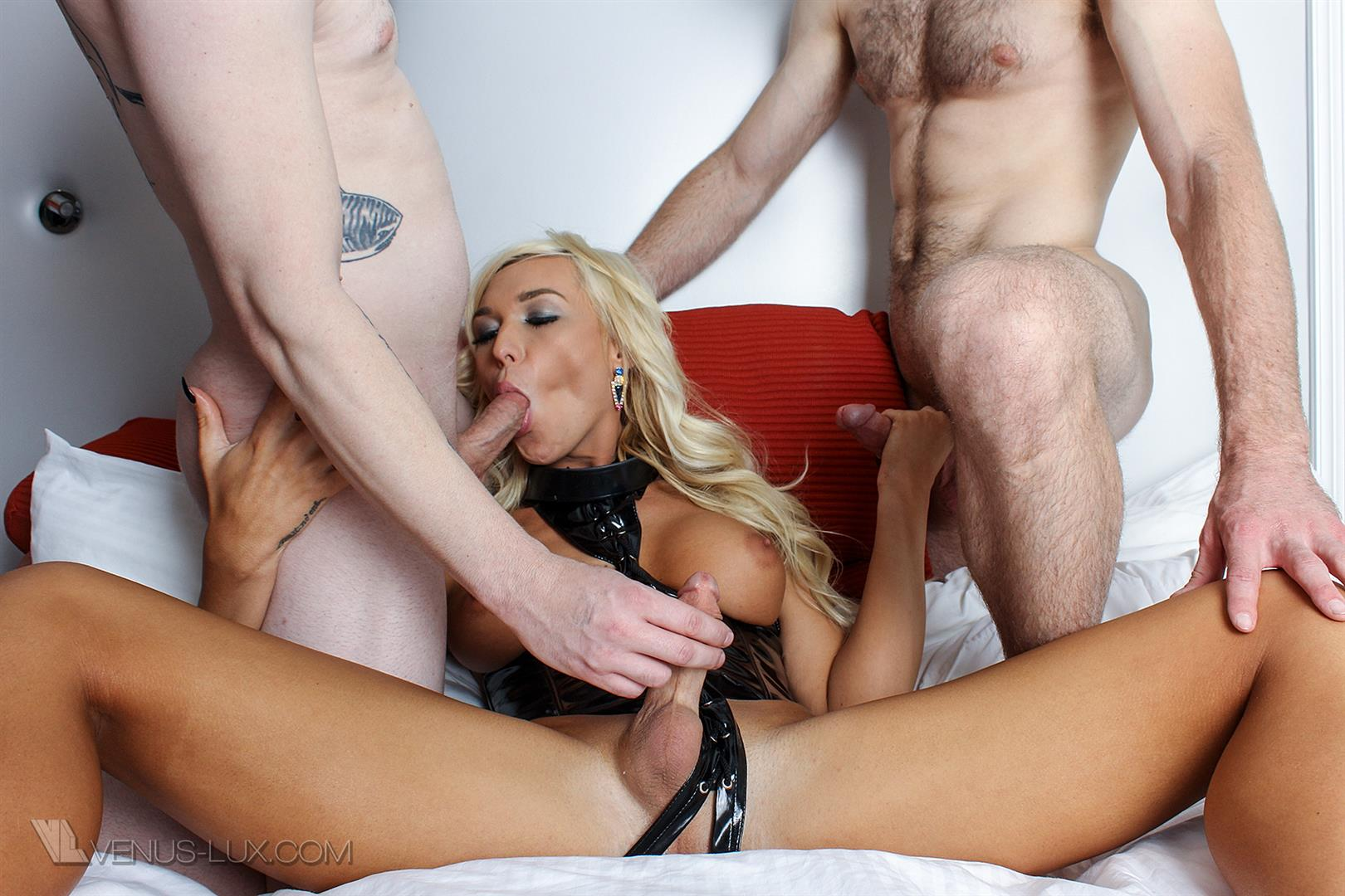 Venus-Lux-Aubrey-Kate-Tranny-Bareback-Fucked-By-2-Straight-Guys-36 Two Straight Guys Take Turns Barebacking A Hot Tranny